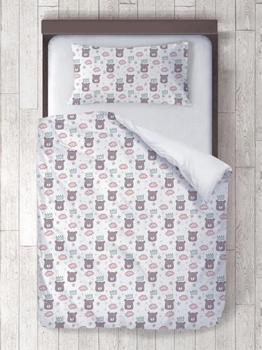 Lunanino %100 Pamuk Bebek Nevresim Takımı Kral Ayı Beyaz